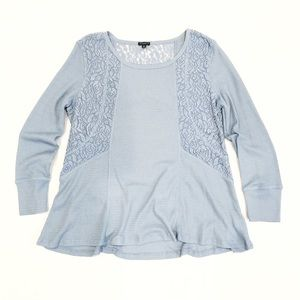 HANNAH Light Blue Thermal Top Lace Details XL